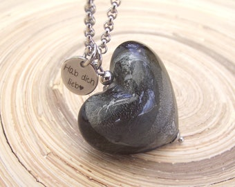 Chain stainless steel glass heart most heart silver foil 30 mm grey