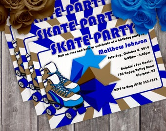 Skating Birthday Party Invitation - Boy or Girl