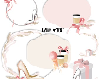 Fashion and coffee clipart, wedding clipart, mothers day clipart, bride clipart