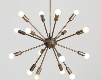 Mid Century Modern Sputnik Chandelier Light Fitting Solid Brass in Antique Patina 16 Arm Bulbs 24inch diam
