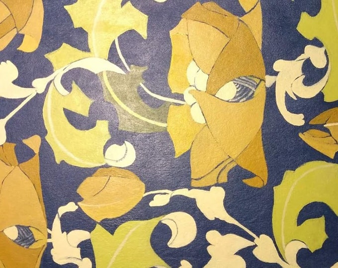 """Titled """"Robert Morris Yellow Flowers """"Floorcloth, Painted Canvas Rug, Offered by Artist"""