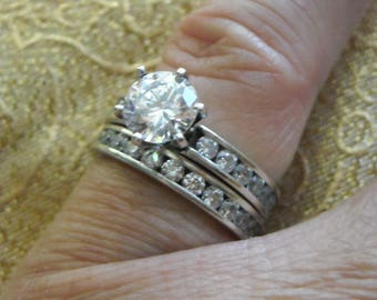 Sterling Silver Retired Diamonique DQ CZ Eternity Wedding Set Size 5 Great Anniversary Gift