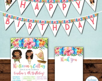 Moana Party Package, Moana Invitation, Moana Birthday, Moana Birthday Invitation, Moana Party, Moana Invite