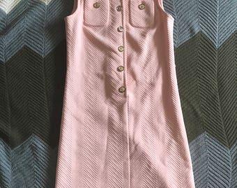 Pink button up vintage dress 1960s Norman Wiatt Knits chevron stitch