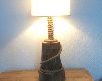 Driftwood Table Lamp. Driftwood Log and post with Rope detail