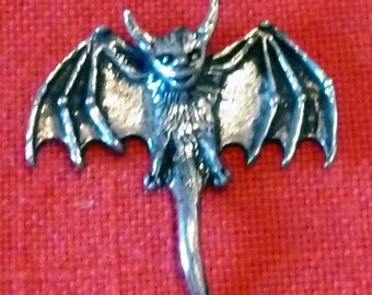 VINTAGE Pewter Bat Pendant