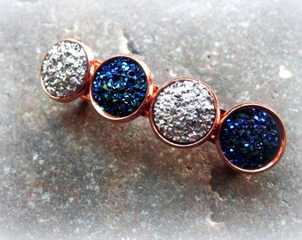 Hair clip of faux Druzy rose gold color