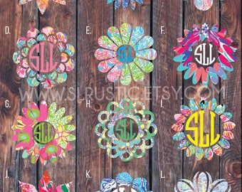 Lilly Pulitzer inspired flower monogram decal 1, monogram sticker, circle monogram,yeti cooler monogram decal, laptop decal, Car decal.