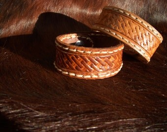 Men's Basket Weave Tooled Leather Cuff