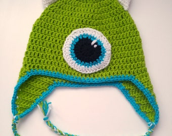 Mike Wazowski Monsters Inc, Monsters University, Crochet Silly Hat, Green Cap, Kids Winter Hat, Baby Shower Gift, Crazy Hat, Wool Knit Hat