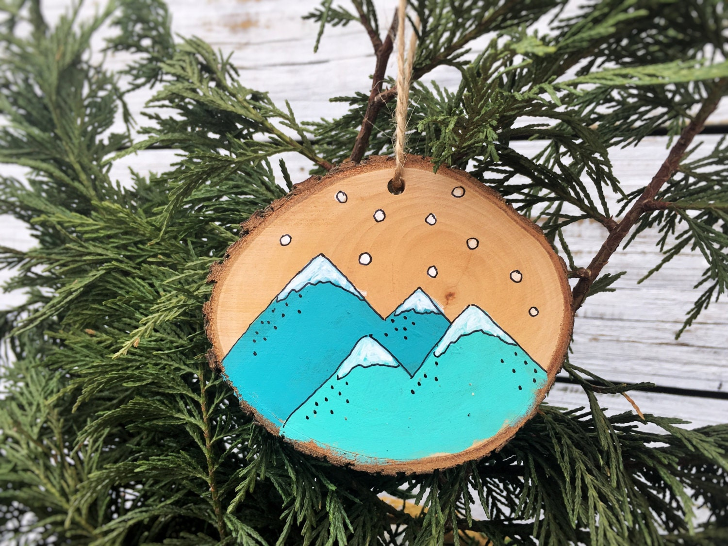 Mountains Christmas Ornament Wood Slice Hand Painted Rustic