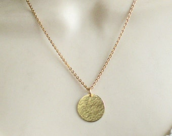 Circle brass necklace - large disc pendant - minimal jewelry - hammered disc necklace (m966)
