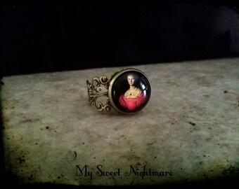 Elizabeth Bathory ring adjustable  gothic anello regolabile bloody countess Erzsébet Báthory jewellry ring bronze Erzebeth Bathory