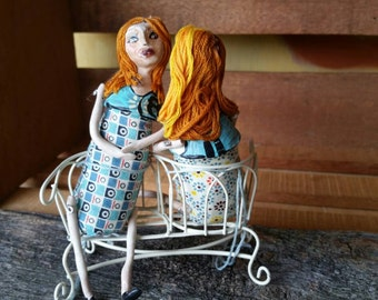 Art doll. Mixed media. Ooak. Doll. Ladies chatting