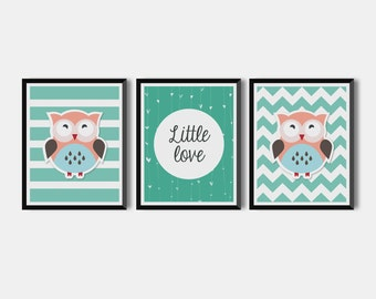 Set Of 3 Nursery Art Prints, art set of 3 cute owls prints for your child room, Boys /Girls Room Wall Decor, Owl Printable  Instant Download
