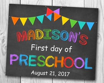 First Day of Preschool Chalkboard - First Day of First Grade Sign - First Day of Preschool Sign - First Day of Kindergarten
