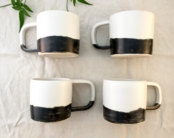 Handmade Ceramic Mug - Coffee Cup - Black And White Pottery Mug - Tea Cup