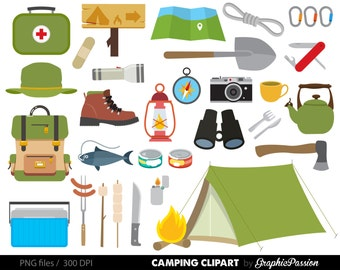 Camping Clipart - Campfire Clipart - Outdoor Clipart - Camping Graphics - Personal and Commerical Use