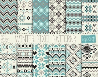 "Fabric digital paper : ""Winter Pixel Patterns"" Christmas sweater digital paper / winter knits, winter sweater patterns / knitting paper"