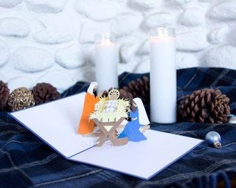 Manger Scene Pop Up Christmas Card, Manger Scene Card, Nativity Pop Up Card, Nativity Christmas, Baby Jesus, Birth of Christ, Manger