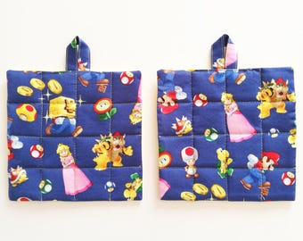 Set two fancy potholders Super Mario