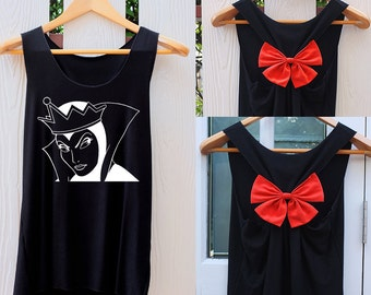 Evil queen Snow White  Villain Bow Tank Top. Racerback bow. Disney shirt. DISNEY VILLAIN Tank Top. Work out tank top. Villain shirt. Disney