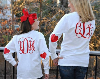 Valentine Shirt, monogram valentine tee, Glitter, Initials,  heart elbows, personalized valentine shirt, simply, southern long sleeve