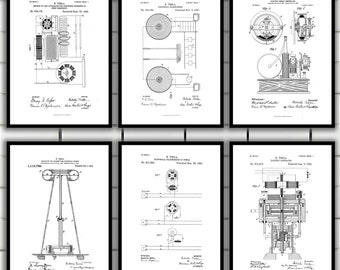 Tesla Patent Set of 6, Tesla Electrical Transmitter Patent, Tesla Poster, Tesla Transmitter Print, Tesla Patent Art, Tesla Inventions, SP112