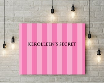 Victoria's secret inspired poster, bachelorette party, VS bachelorette party, pink stripe poster, lingerie party, bride,