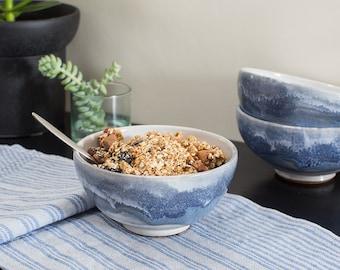 Stoneware Bowl with Cobalt Stripe on White