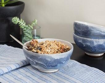 SALE! Stoneware Bowl with Cobalt Stripe on White