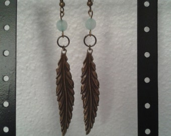 Earrings with brass feather and amazonite bead // Gift for her
