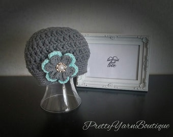 crochet baby hat in grey, grey cotton baby hat with robins egg and grey flower, crochet baby hat, crochet girl hat, 0-12 months