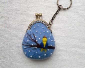 Mini coin purse Keychain - Felted coin purse - Christmas gift - Stylish accessory - Coin purse Keychain