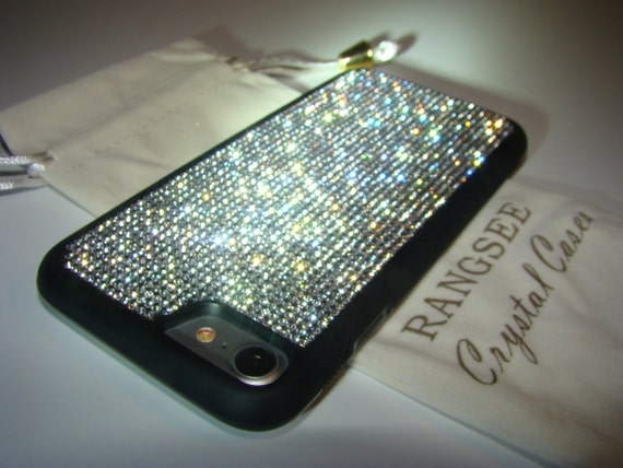 iPhone 8 / iPhone 7 Case Clear Diamond Rhinestone Crystals on iPhone 7 Black Rubber Case. Velvet/Silk Pouch Bag Included,