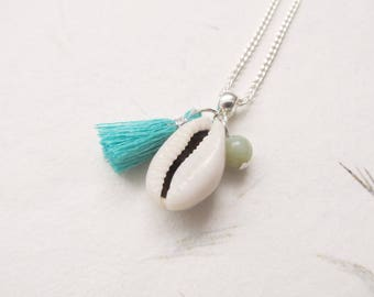 Cowrie shell necklace, shell neckalce, summer necklace, tassel necklace