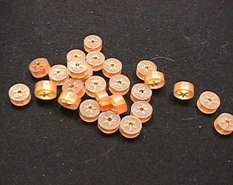 Twenty Five Hard Rubber Like Orange Star Design Drilled Round Beads
