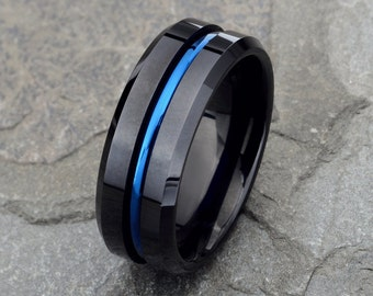 Mens Wedding Band Black Tungsten Ring with Blue Line Mens Wedding Ring 8mm Tungsten Ring Two Tone Wedding Band Personalized Wedding Band