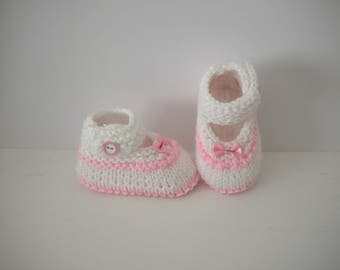 Slippers in wool 0/3 months Babies ballerinas bows baby girl birth