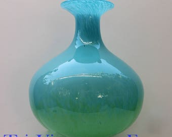 Large Aqua Glass Vase ~ Vintage Vase ~ Aqua Glass ~ Large Vintage Aqua Glass Vase ~ Home Decor ~ Beach House Decor ~ Hand Blown Glass Vase ~