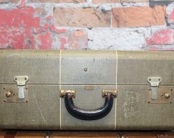 Vintage Mendel Striped Tweed Suitcase,Large Tweed Suitcase, Old Suitcases, Old Luggage, Vintage Luggage, Suitcases, Suitcase Photo Prop