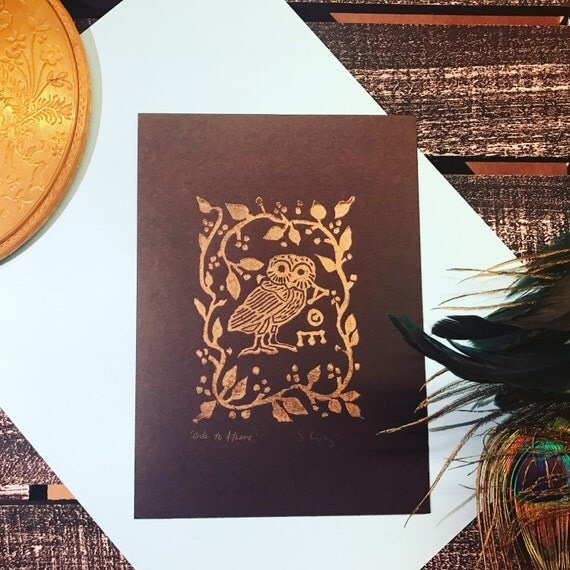 Ode to Athena -- hand carved lino block print