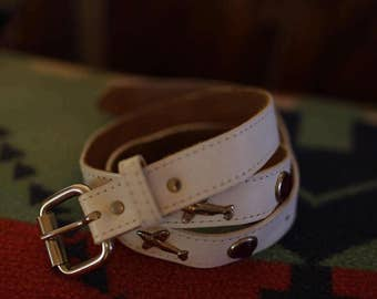 Cute Vintage Studded white Belt w Jewels Leather Rockets Jets Airplanes