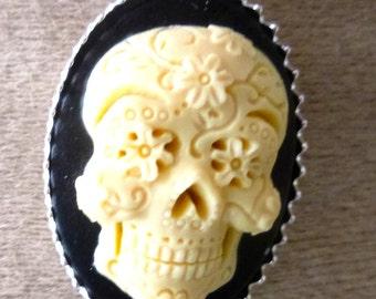 Silver cameo pendant 925 skull Mexican skull
