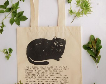 cat bag, angry cat, cat canvas bag, screen printed cat, tote bags cat, black cat, unique cat, cat tote bag, cat gift, gift for cat lover