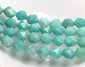 6-12mm Faceted Amazonite beads, Natural Faceted Amazonite Beads Full Strand ( 6 mm 8mm 10mm 12mm )