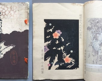 "1902, Japanese antique woodcut design book, Ueno Seiko etc, ""Bijutsu Zuan Gaho #1"""