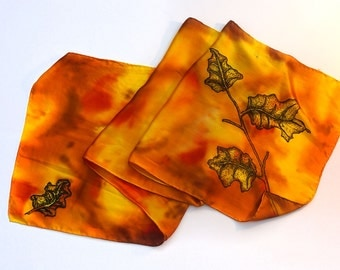 Oak Leaves Scarf - Hand Painted Silk