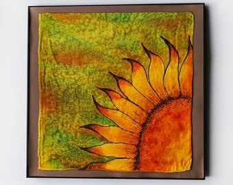 Sunflower - Framed Silk Painting