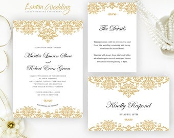Gold wedding invitation kits | Classic damask wedding invitations printed on shimmer card stock